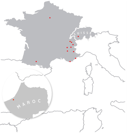Carte d'implantation SAF